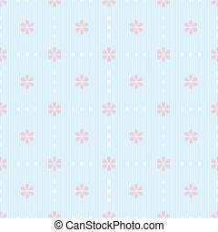 Seamless striped pattern with dots and flowers - Gentle...