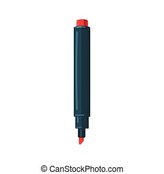 Red marker icon, cartoon style