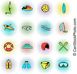 Water Sport Icons set isolated on white background