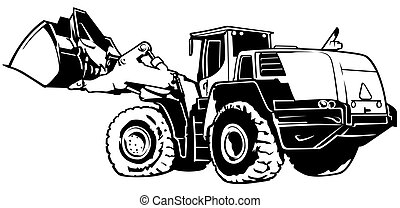 Loader Black and White Illustration - Outlined Vector