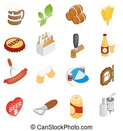 Beer icons set, isometric 3d style