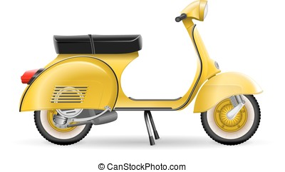 Realistic golden yellow classic scooter motorcycle on white...