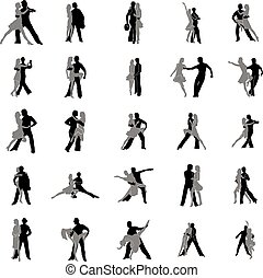 Tango dance silhouettes set isolated on white background