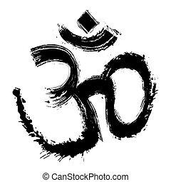 Artistic om symbol - Hinduism religion symbol om created in...