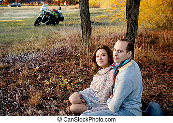 Guy and girl in woods autumn - Guy and girl in woods in...