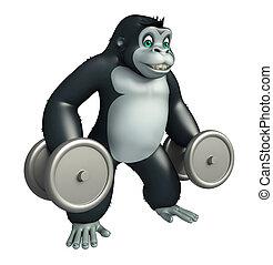 cute Gorilla cartoon character with Gim equipment - 3d...