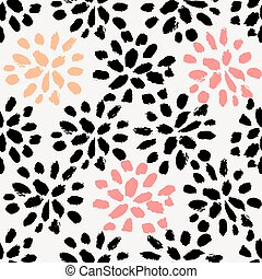 Hand Drawn Floral Seamless Pattern - Hand drawn floral brush...