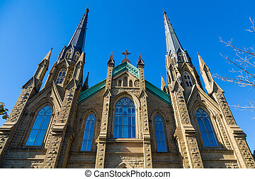 Ornate Windows in Gothic Church - Old Stone Church in...