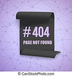 Error 404 Futuristic Wireframe Vector Banner. Page Not Found...