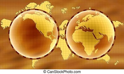 World map - Old map of World. East and west hemisphere