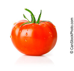 fresh tomato fruit with green leaf isolated on white...