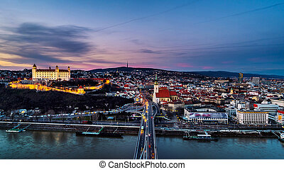 Aerial view of Bratislava, Slovakia at sunset