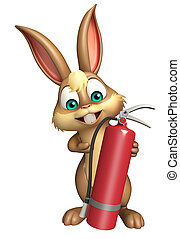 Bunny cartoon character with fire extinguisher - 3d rendered...