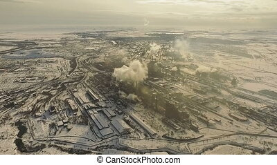 Air pollution. Drone shooting. - Metallurgical Plant. Poor...