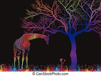 Magic savana - Illustration imagecolor giraffa and tree