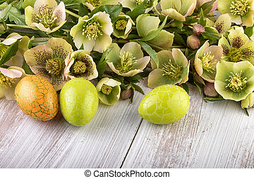 Yellow green flowers with Easter Eggs
