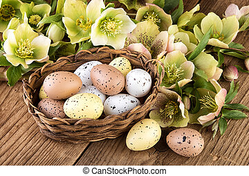 Easter eggs pastel colors decoration