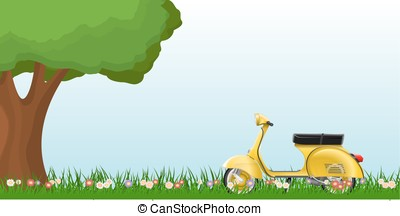 Spring landscape with a classic scooter on grass with flowers