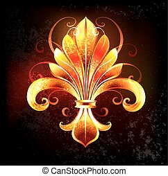 fire lily - artistically painted fire fleur de lis on a...