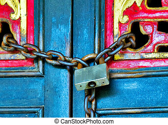 door on chain padlock Monastery - chain rustic door closed...