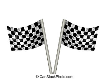 F1 winner flags - Two F1 flags with checkered pattern