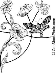 death's head hawk moth and poppy - vector background with...