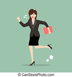 Business woman running in suit