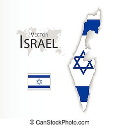 State of Israel flag and map transportation and tourism...