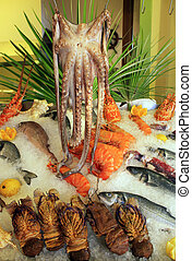 Fresh seafood arrangement displayed in market