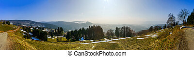 Panoramic landscape view Vosges mountains Alsace, France