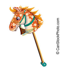Stick horse toy, cut out on white background.