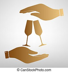 Sparkling champagne glasses. Flat style icon vector...