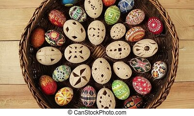 Coloured eggs in Easter nest ukraine
