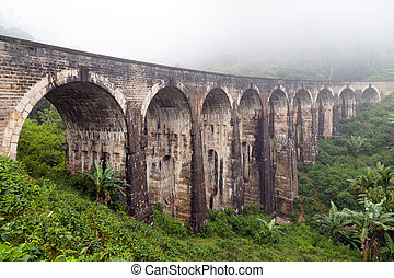 Rail road bridge Demodara Nine Arch Bridge morning mist,...