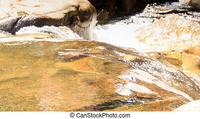 Closeup Small River Cascade Water Splashes Sunlight -...