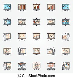 Business chart presentation icons