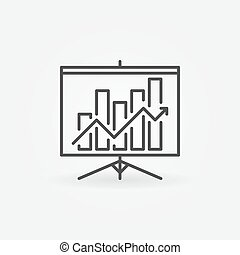 Growing graph presentation linear icon - vector presentation...