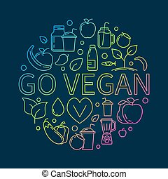 Go Vegan colorful illustration - vector round colored vegan...