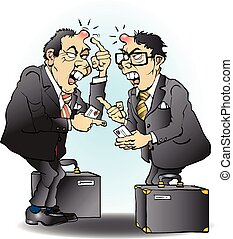 Business going wrong in asia cartoon illustration drawing