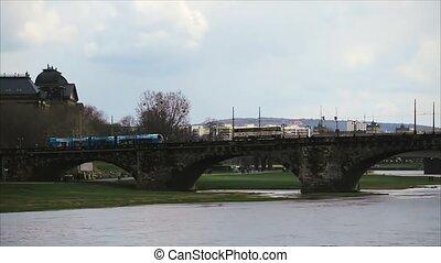 Old Bridge Over River Elbe in Dresden