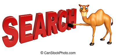 Camel cartoon character with search sign - 3d rendered...
