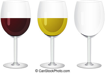 Wine in glasses. Isolated on white background