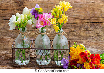 Fresh freesia flowers - Colorful freesia flowers in glass...