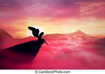 fallen angel - Silhouette of a lonely fallen angel with long...