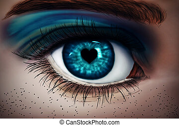 fallen in love - Illustration of a painted, blue woman eye...