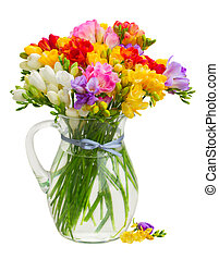 Fresh freesia flowers - Posy of fresh freesia flowers in...
