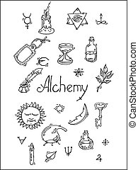 Alchemy symbols bw - Set of trendy vector Alchemy symbols...