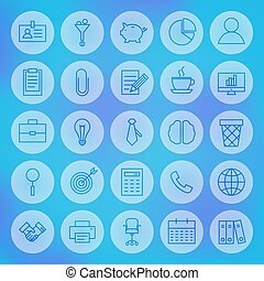 Line Circle Web Business Office Icons Set