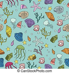 Seamless pattern with colorful sea creatures - vector