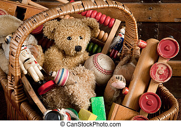 Antique toys - Old basket filled with antique wooden toys